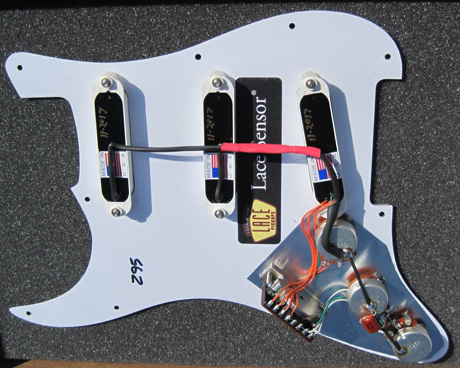 Lace Sensor Blue Silver Red Pickup Set With White Covers Wiring